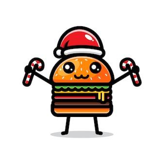 크리스마스를 축하하는 귀여운 햄버거