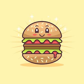 Симпатичный гамбургер персонаж мультфильма иллюстрации плоский дизайн