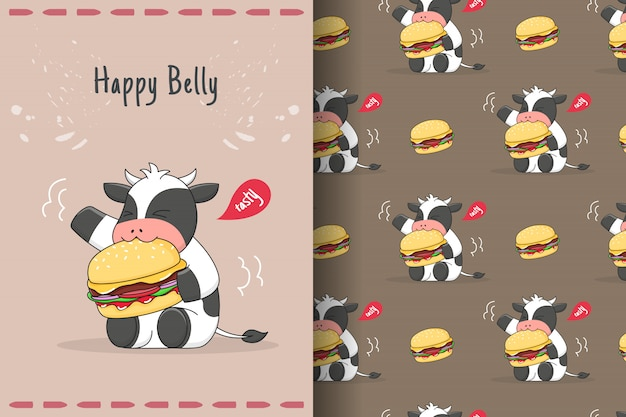かわいいバーガー牛のシームレスなパターンとカード