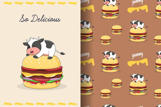 Cute burger cow seamless pattern and card