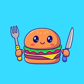 ナイフとフォークの漫画を保持しているかわいいハンバーガー。ファーストフードアイコンの概念が分離されました。フラット漫画スタイル