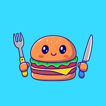 Cute burger holding knife and fork cartoon . fast food icon concept isolated . flat cartoon style