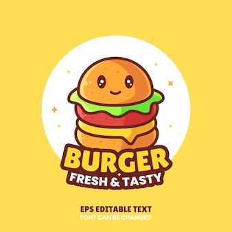かわいいハンバーガーロゴベクトルアイコンillustrationpremiumfast food logo in flat style for restaurant