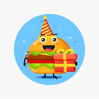 Cute burger mascot on birthday