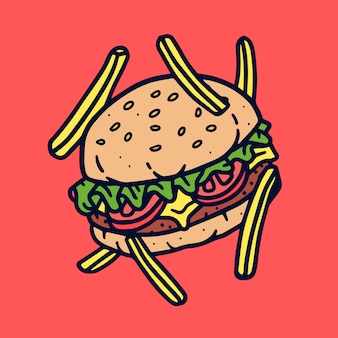 Cute burger on red
