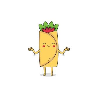 Милый буррито мультипликационный персонаж безразличное выражение