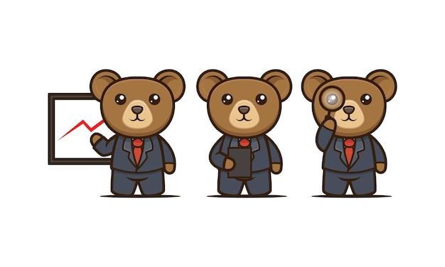 Симпатичный деловой медведь талисман дизайн иллюстрации векторных шаблонов