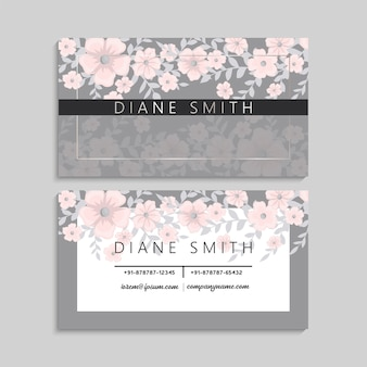 Cute business card with beautiful light pink flowers