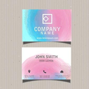Business card template con un design acquerello