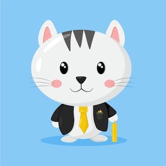 그의 서류 가방을 가진 귀여운 비즈니스 고양이
