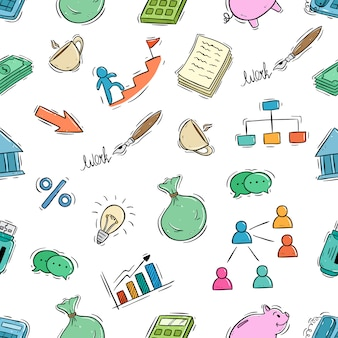 Cute business icons in seamless pattern with doodle style