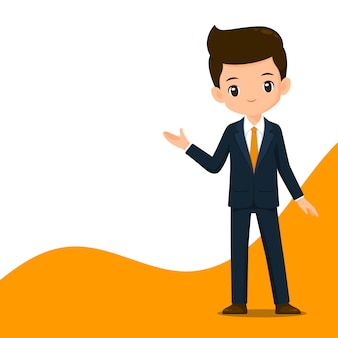 Cute business man character in smart suit illustration