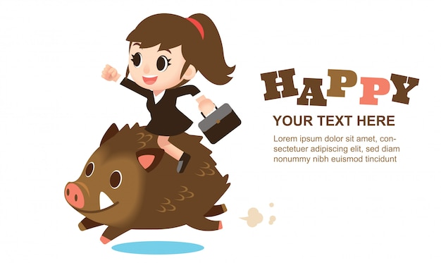 Cute business woman character riding on a wild boar for greeting card