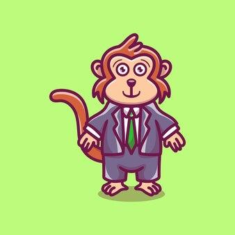 귀여운 사업가 보스 원숭이 만화 일러스트 레이션