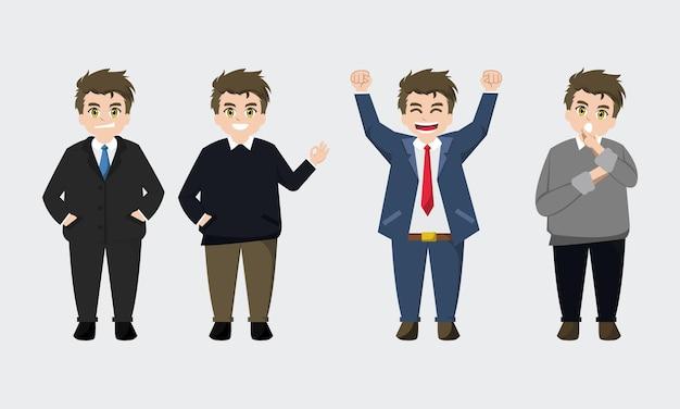 Милый бизнесмен мультипликационный персонаж набор