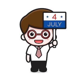 Милый бизнесмен мультфильм держит четвертого июля знак иллюстрации