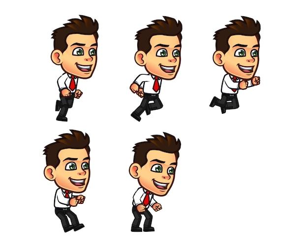 Симпатичный бизнесмен мультфильм спрайт Premium векторы