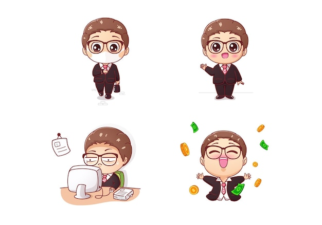 Cute businessman character collection vector illustration