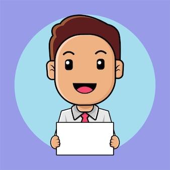 Милый бизнесмен держит белую доску иллюстрации шаржа
