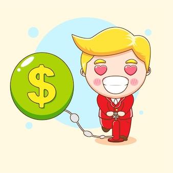 Милый бизнесмен качает деньги мультфильм