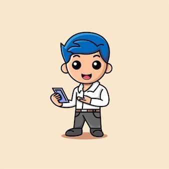 彼の手漫画イラストで電話を示すかわいい実業家