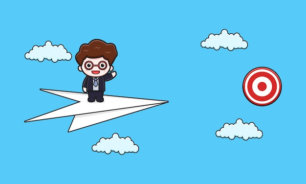 Cute businessman trying to hit target cartoon icon illustration. design isolated flat cartoon style