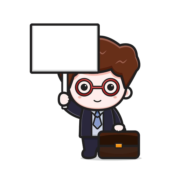 Cute businessman with blank board cartoon vector icon illustration. design isolated on white. flat cartoon style.