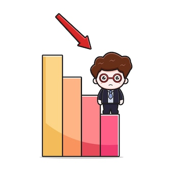 Cute businessman with deflation chart cartoon vector icon illustration. design isolated on white. flat cartoon style.