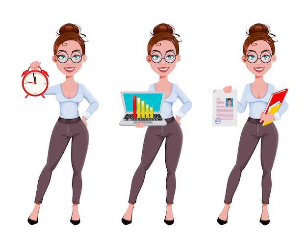 Cute businesswoman cartoon character in flat style