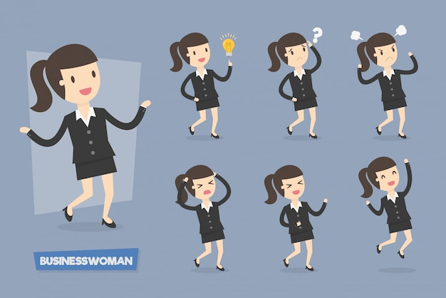 Cute businesswoman characters in various action