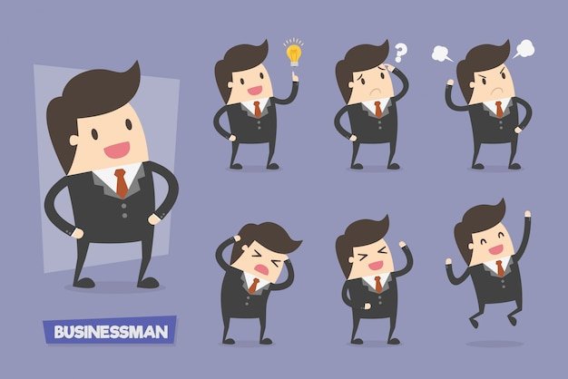 Cute businesswoman characters in various actions
