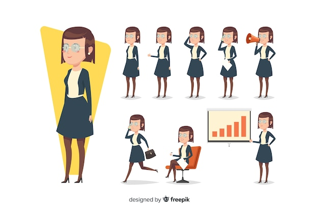 Cute businesswoman doing different actions