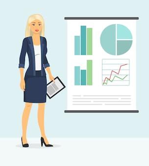 かわいい実業家が何かを示します。フラットな漫画のスタイルでプレゼンテーションを作るビジネススタイルの服の女性のイラスト。