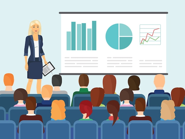 Cute businesswoman showing something to people.  illustration of woman in business style clothes making presentation fof people sitting on chairs in flat cartoon style.