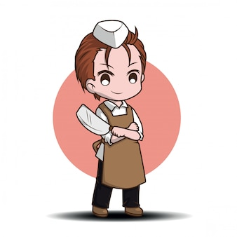 Cute butcher cartoon character., job conten.
