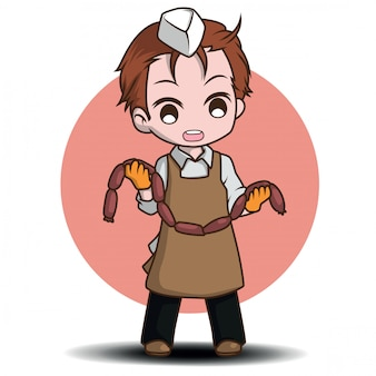 Cute butcher cartoon character., job