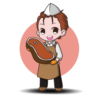 Cute butcher cartoon character