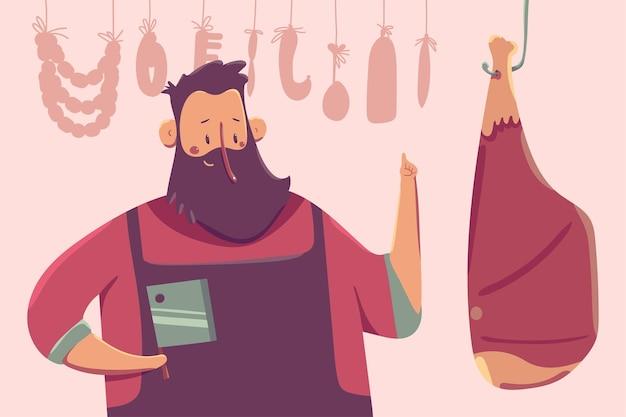 背景に分離された肉の漫画のキャラクターとかわいい肉屋。