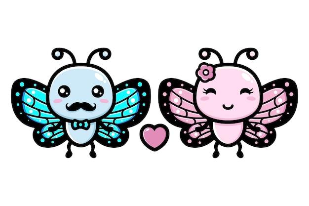 かわいい蝶が恋に落ちる Premiumベクター