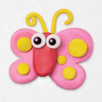 かわいい蝶の動物の粘土のベクトル子供のためのカラフルなキャラクターの創造的な工芸品