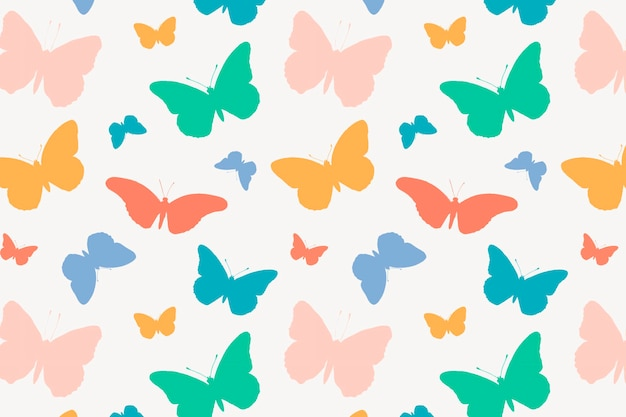 Cute butterfly background pattern, colorful design vector