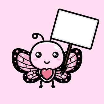 빈 텍스트 보드를 들고 귀여운 나비