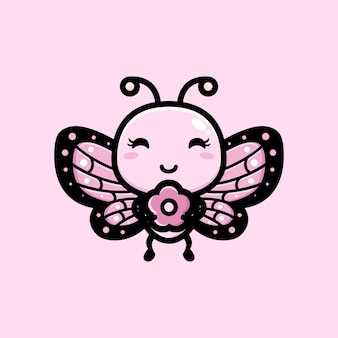 귀여운 나비 포옹 핑크 꽃