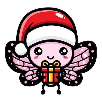 귀여운 나비가 크리스마스를 축하하고 있다