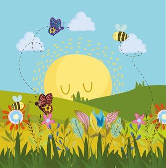 귀여운 나비와 꿀벌