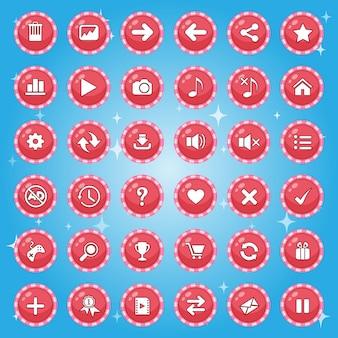 Симпатичные кнопки границы конфеты, значок графического интерфейса для игры.