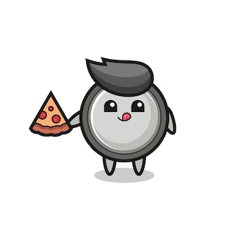 귀여운 버튼 셀 만화 먹는 피자, 티셔츠, 스티커, 로고 요소를 위한 귀여운 스타일 디자인