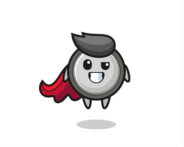 The cute button cell character as a flying superhero , cute style design for t shirt, sticker, logo element