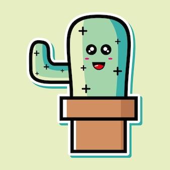 Милый кактус мультипликационный персонаж