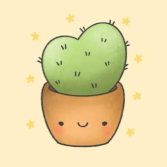 Cute cactus cartoon hand drawn style